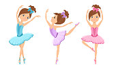 Little cute ballerinas in tutu dress and pointe dance. Vector cartoon dancing girls isolated on white background. Children's ballet school concept. Beautiful kids in simple flat style.