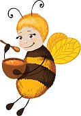 Little cute bee with honey. Smile character