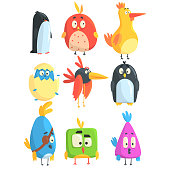 Little Cute Bird Chicks Collection Of Cartoon Characters in Geometric Shapes, Stylized Cute Baby Animals. Fantastic Toy Birds Isolated Colorful Vector Stickers.