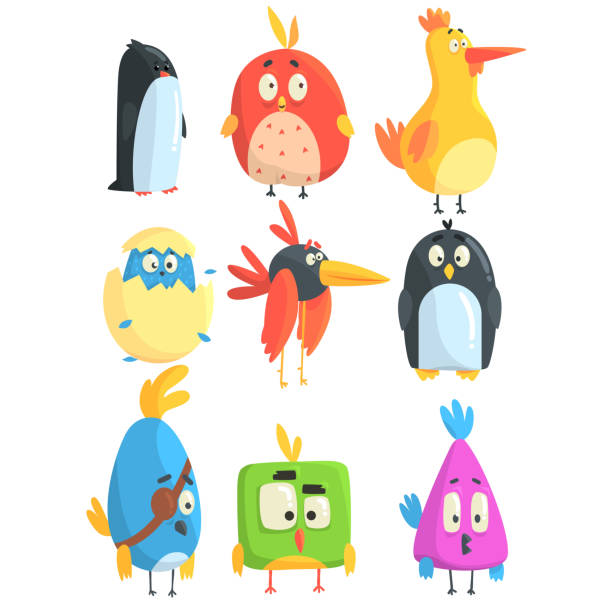 Little Cute Bird Chicks Collection Of Cartoon Characters in Geometric Shapes, Stylized Cute Baby Animals Little Cute Bird Chicks Collection Of Cartoon Characters in Geometric Shapes, Stylized Cute Baby Animals. Fantastic Toy Birds Isolated Colorful Vector Stickers. chicken bird stock illustrations
