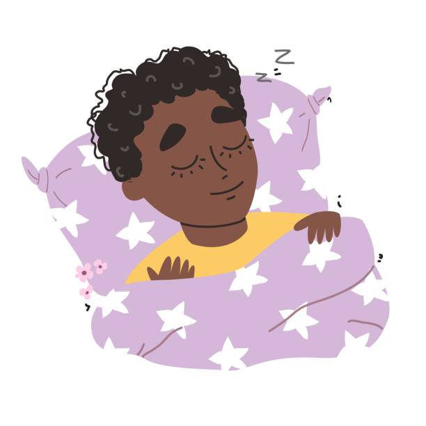 ilustrações de stock, clip art, desenhos animados e ícones de little cute black african american boy sleeping in his bed - unicorn bed