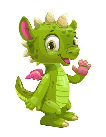 Little cute cartoon green dragon