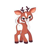 The image of a cute little deer. Vector illustration in cartoon style.