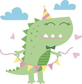 Little cute dinosaur illustration. Greeting card graphics for kids vector illustration