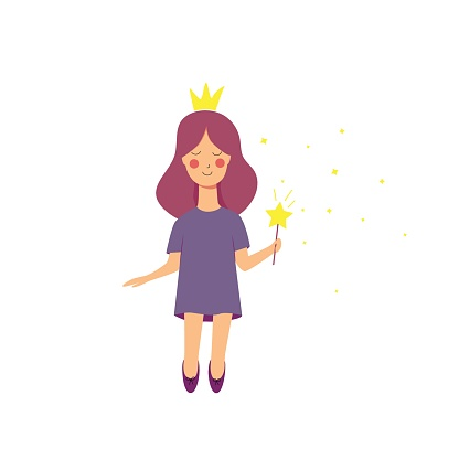 Little cute fairy with stars. Vector flat illustration. For printing, for children's prints, for design, icon. Isolated.