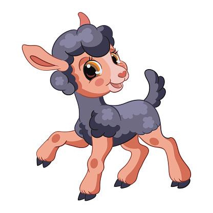Little cute funny character black lamb vector