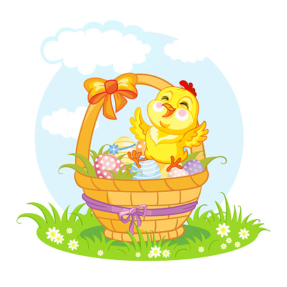 Little cute funny character chicken on the basket vector
