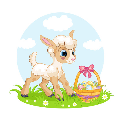 Little cute funny character lamb and easter basket vector