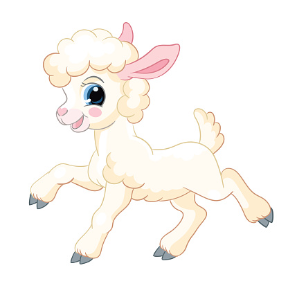 Little cute funny character standing lamb vector