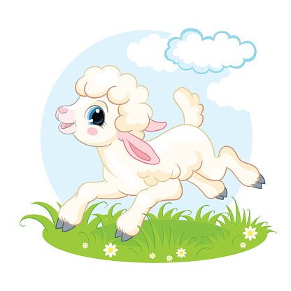 Little cute funny character white lamb vector