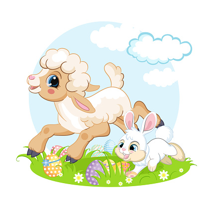 Little cute funny characters lamb and rabbit vector