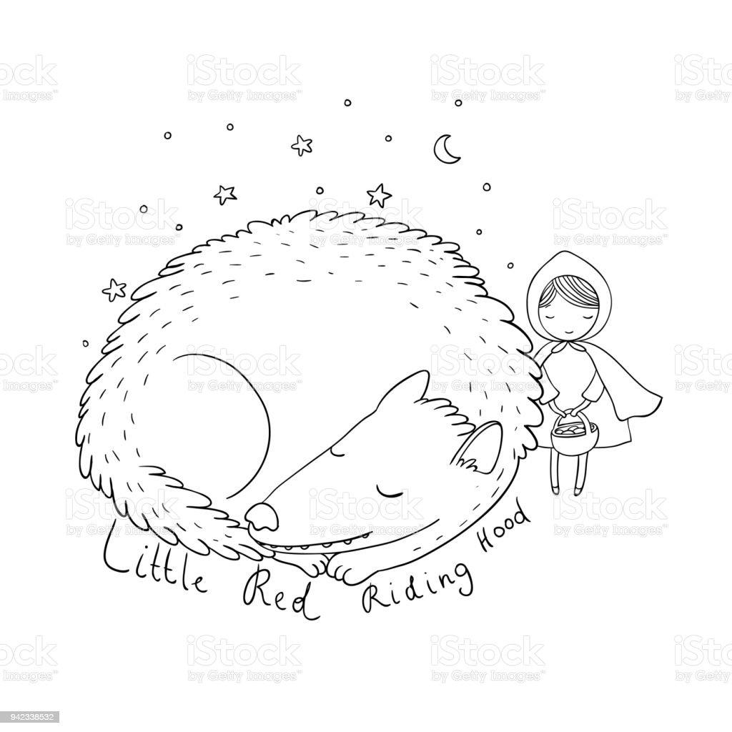 Kleine Süße Mädchen Und Ein Wolf Stock Vektor Art und mehr Bilder ...