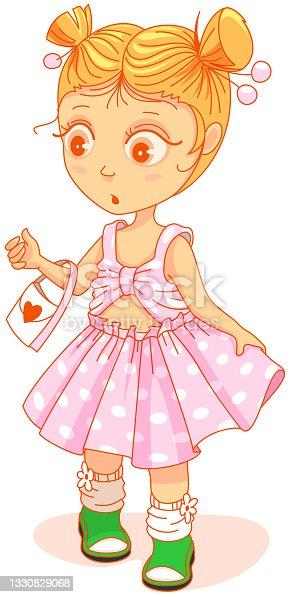 istock Little cute girl in beautiful dress looking surprised 1330829068