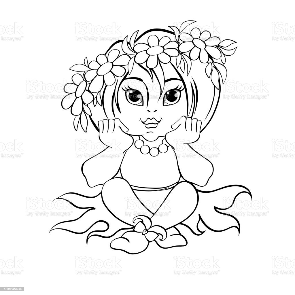 Niña Linda En La Guirnalda De Margaritas Ilustración De Vector De ...