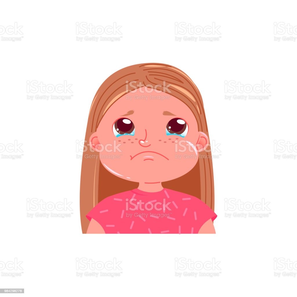 little cute girl is crying sad emotion child with tears in his eyes