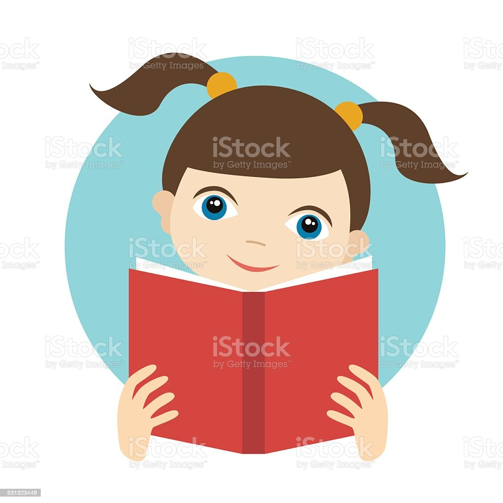Little cute girl reading a book. Flat vector. vector art illustration