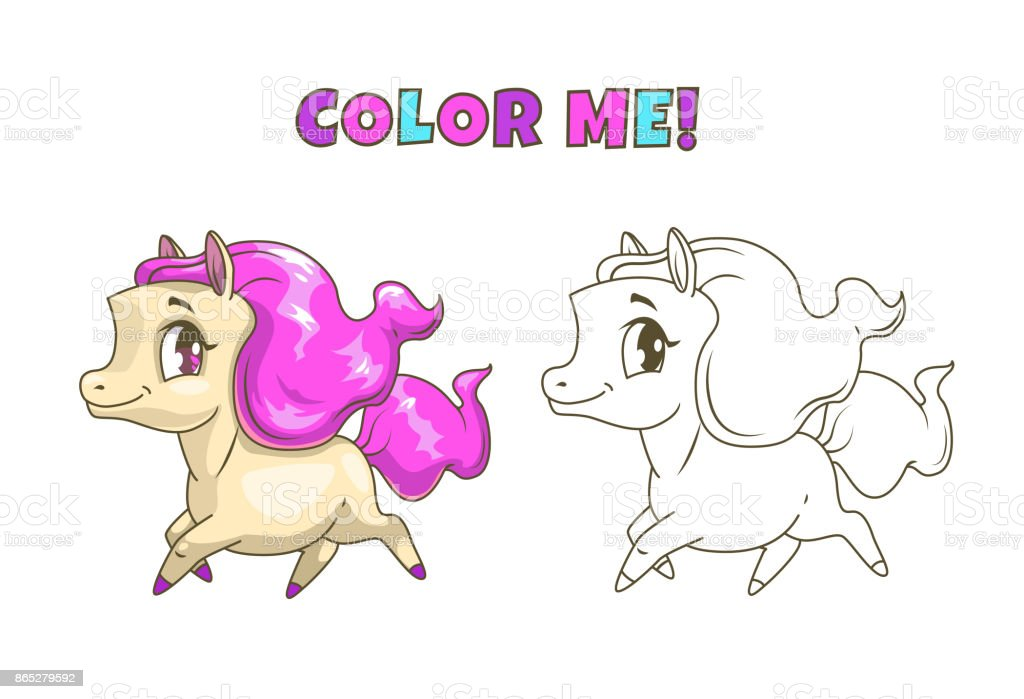 Little Cute Horse Illustration For Coloring Book Stock Illustration Download Image Now Istock