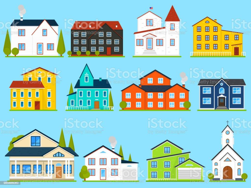 Kleines Nettes Haus Oder Wohnungen Amerikanische Familienstadthaus ...