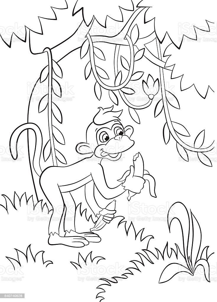 Ilustración de Poco Lindo Monos Es De Comer Plátano En El Bosque y ...