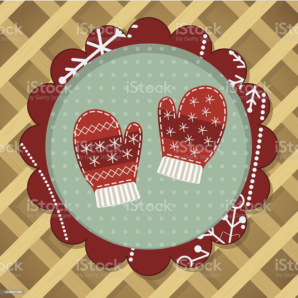 Little cute pair of red mitten royalty-free stock vector art