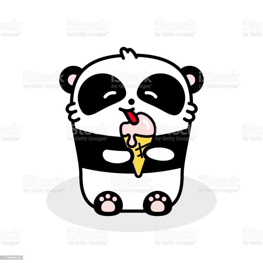 Petit Panda Mignon Mange De La Crème Glacée Illustration