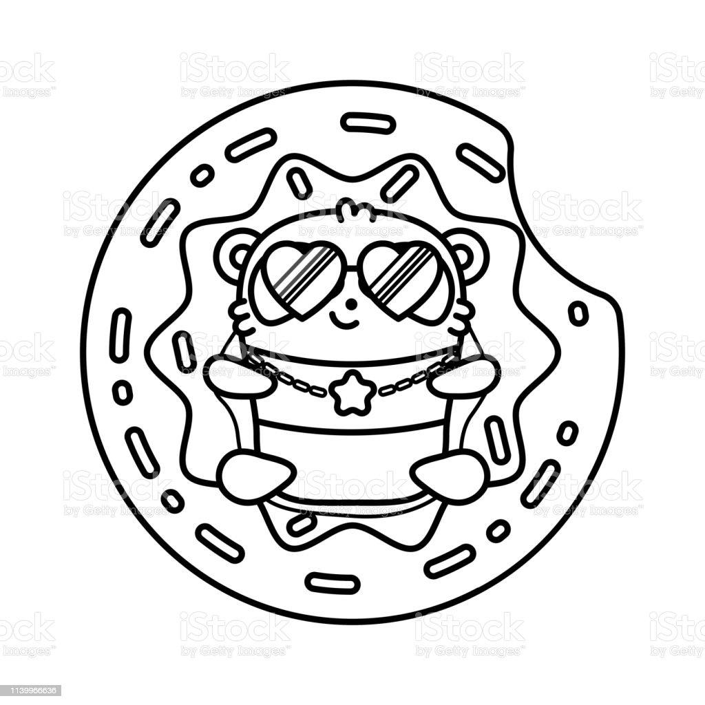 Kucuk Sevimli Panda Havuzda Sisme Daire Donut Yatiyor Beyaz Arka