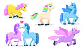 Little cute Pegasus and unicorn flat set for web design. Cartoon magic ponies for princess isolated vector illustration collection. Fantasy for child and animals concept