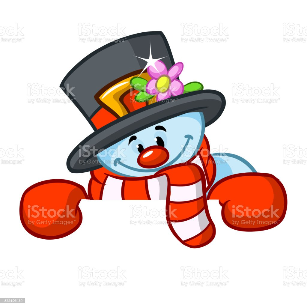 Little cute smiling snowman with scarf and woolen cap holding blank scroll for text invitation. Christmas or New year vector illustration vector art illustration