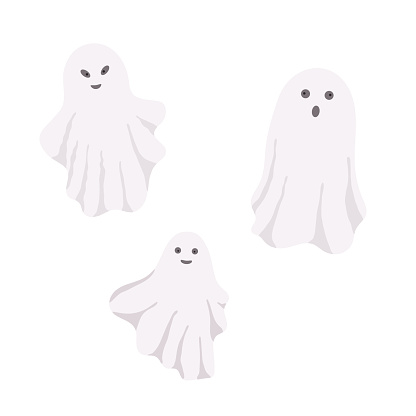 Little cute white ghost with face emotions vector illustration on the white, cartoon spooky simple character colorful drawing for Halloween holiday celebrations, banner, fairy tale character decor