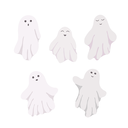 Little cute white ghosts with emotions set vector illustration on the white background, cute spooky simple character black and white drawing for Halloween holiday celebrations