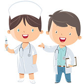 Vector little doctor and nurse