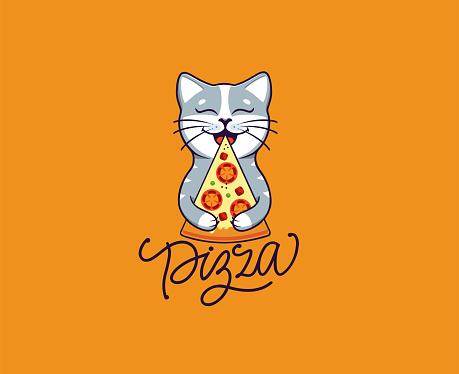 A little dog eats pizza, logo. Funny corgi cartoon character, logotype