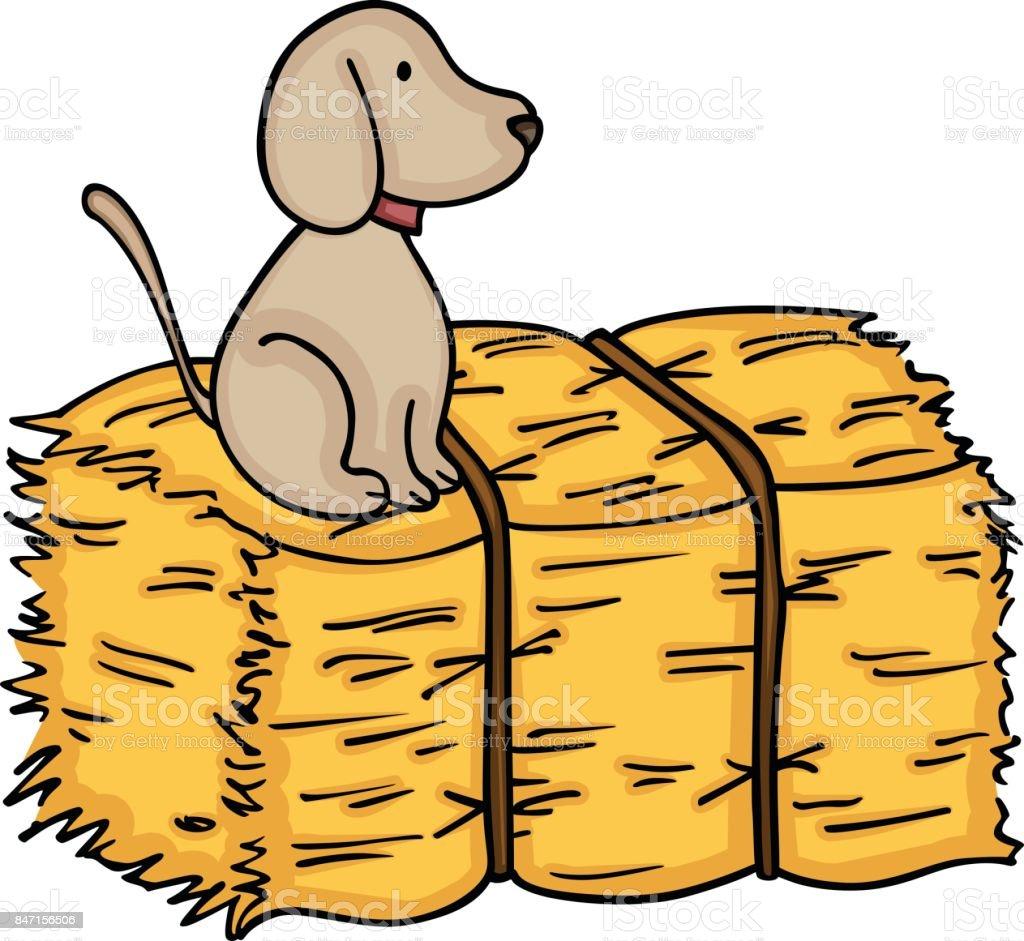 Little dog up on bale of hay vector art illustration