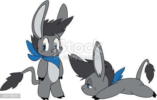 A cute little donkey with a blue bandanna on.  Two poses, and easy to recolor.