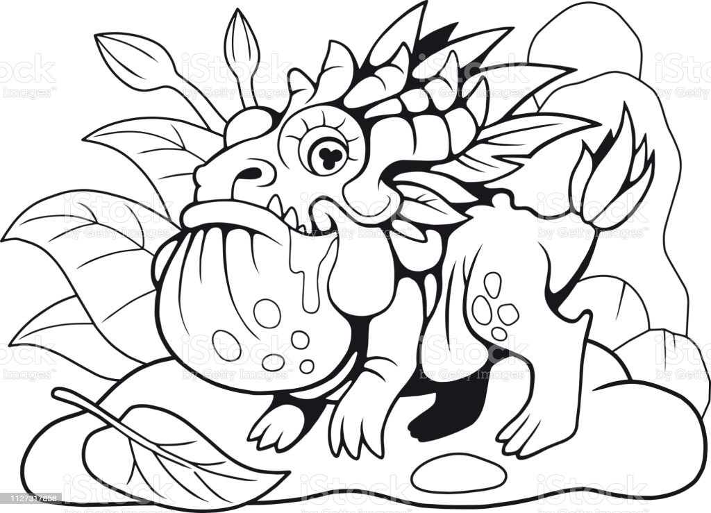 Kucuk Ejderha Kurbaga Boyama Kitabi Komik Resim Stok Vektor Sanati