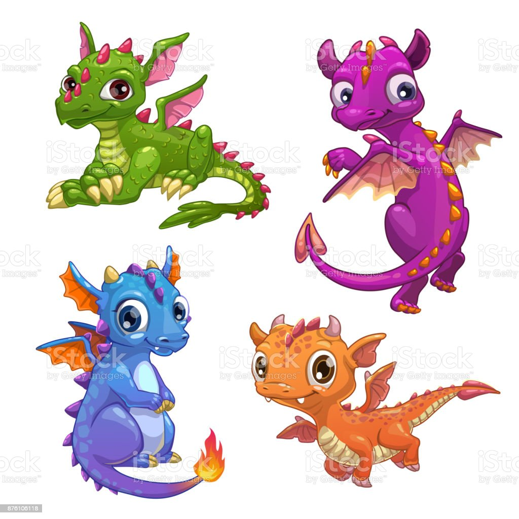 Little dragons set vector art illustration
