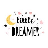 Little dreamer text Moon star print isolated on white Vector logo sign