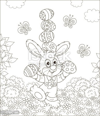 Little rabbit juggling with colored eggs among flowers on grass of a lawn on a sunny spring day, black and white vector illustration in a cartoon style for a coloring book