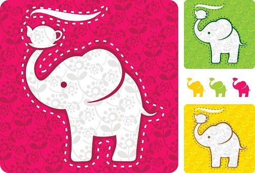 Little elephant holding a kettle