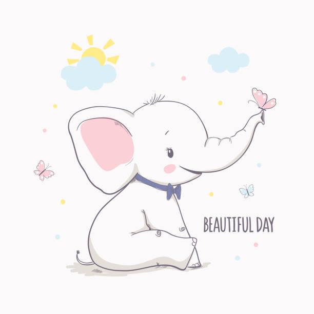 kleiner elefant mit schmetterling. vektor-illustration für kinder - elefantenkunst stock-grafiken, -clipart, -cartoons und -symbole
