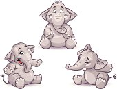 Three cute little elephants on white background. EPS 8, grouped and labeled in layers.