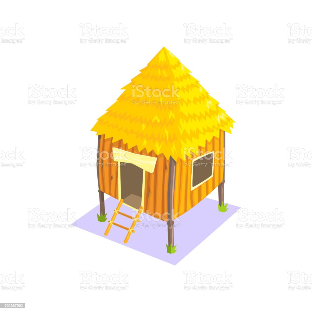 Little Elevated Wooden Hut Jungle Village Landscape Element vector art illustration