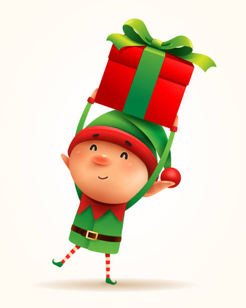 little elf with gift present. isolated. - christmas background stock illustrations