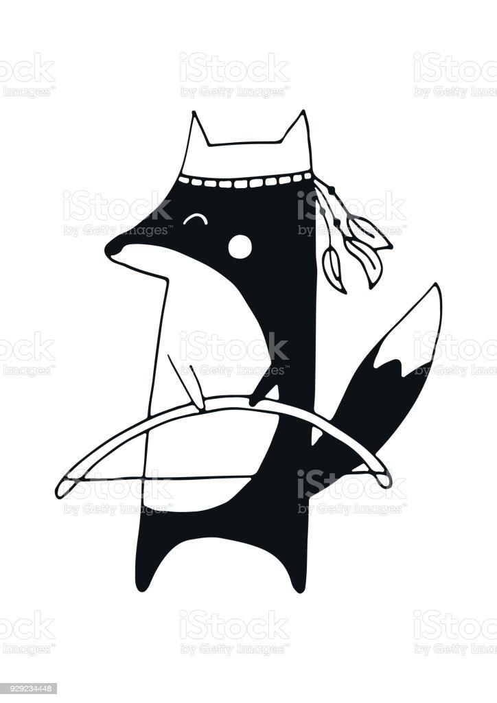 kleine entdecker s e hand gezeichnete kinderzimmer poster mit j ger fuchs im skandinavischen. Black Bedroom Furniture Sets. Home Design Ideas