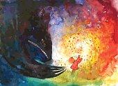 Illustration for children's books. Fairy tale, magic, girl, monster, harassment, flowers, glade.