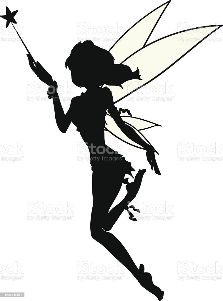 Little Fairy Silhouette Tatoo Vector