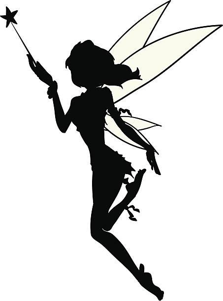 kleine fee silhouette tatoo-vektor - tinkerbell stock-grafiken, -clipart, -cartoons und -symbole