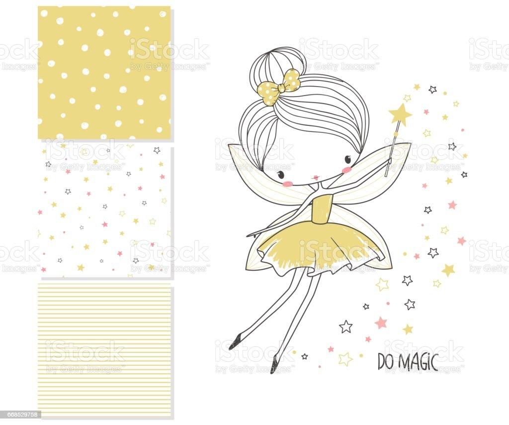 Little fairy. Surface design and 3 seamless patterns - ilustración de arte vectorial