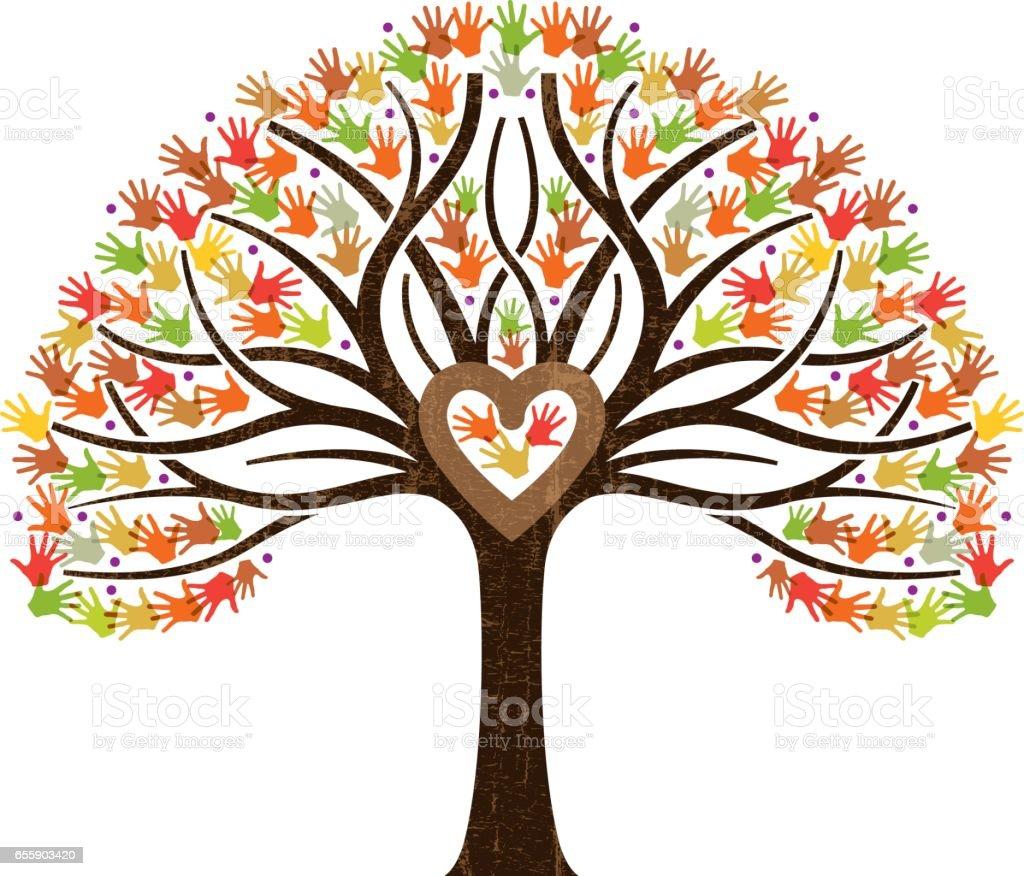 Little fall family heart tree illustration vector art illustration
