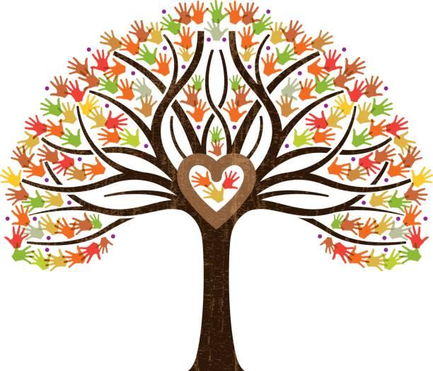 wenig fallen familie herz-baum-darstellung - stammbäume stock-grafiken, -clipart, -cartoons und -symbole